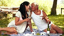 Teen cutie's kinky picnic with a grandpa thumbnail
