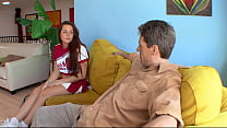 Horny teen gags on a huge dick of an older guy ...
