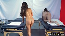 Two hot babes get a special massage treatment at a spa porn videos