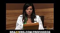 Big-tit brunette doctor uses her patient for a ...