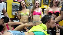 Group of stunning babes orgy fucking at party