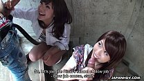Two slutty Asian sluts sucking dudes on the stairwell porn videos