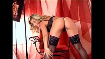 Glamour blonde with a tight ass in sexy stockings