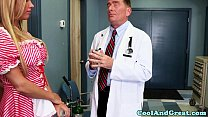 Nurse Samantha Saint gets sperm sample on face