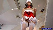brit milf in christmas stockings gets cumshot
