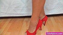 Leggy brunette hose and high heels