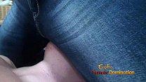 beautiful blonde in bra and jeans facesitting her boyfriend