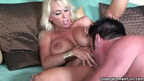 Busty blonde milf feasts on creamy cumshot