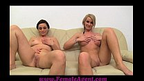 FemaleAgent MILF masturbates with lucky girls o...