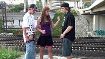 Young pretty girl in PUBLIC teen gangbang railw...