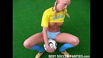 blonde ukranian soccer hottie grinding on the ball