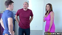 Kendra Lust swallows Alex Ds big cock in the kitchen porn videos