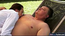Petite Ashley Woods gives bj and ride old mans ...