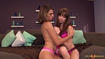 Pretty babes Eva and Hannah eating shaved pussy