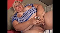 Busty blonde BBW beauty loves to fuck her soaki...