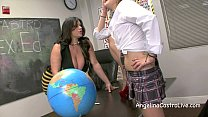 Sloppy FootJob and BlowJob in class with Angeli...