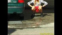 Crazy pee girl at the car wash