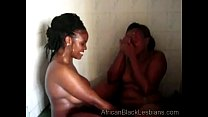 african hottie gets orally pleased by a chunky sista in the showerathroom 1