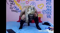 blonde stretches her asshole with long and huge dildos on webcamchat