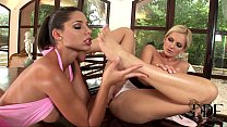 exquisite lesbos licking and sucking their feet on the piano