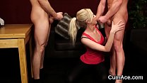 Wicked looker gets cumshot on her face swallowi...