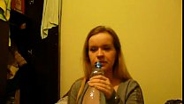 Young polish blonde teen girl putting on her pa...