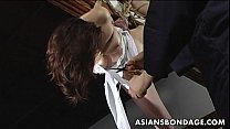 Lovely Japanese cutie gets bound, suspended and...