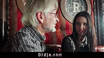 Sweet Young girl seduces naive grandpa for cums...