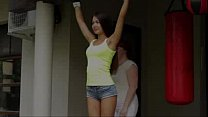 Hot girl tied arms up showing incredible armpits
