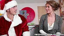 Naughty brunette GF gives a lapdance to her man in her holiday outfit