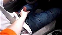 wife give husband handjob while driving making him cum