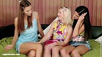 Three cute lesbians have a hot threesome on Sap...