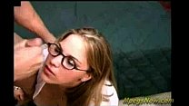 Guy cums on nerdy girl's glasses