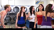 bffs – college girls fuck creepy guy sniffing p…