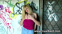 Blonde whore fucks a dude and her gf watches
