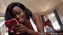 Ebony babe swallows cum
