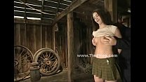 sexy brunette teen babe bound in barn