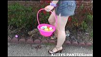 puzzle a solving and panties her flashing Kitty