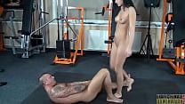 Femdom Abbie ballbusting her slave and gives hi...