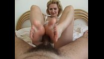 monique milks a cock with her oiled feet