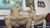 Three hot teen lesbos and one lucky guy