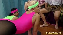 teens aerobic with gangbang Lederhosen