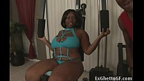 Big black lady banged in the gym thumbnail