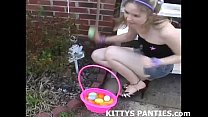 cute kitty flashing her panties while doing a puzzle