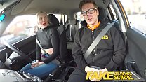 Fake Driving School lesson ends in suprise squirting orgasm and creampie porn videos
