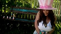 angela white easter bunny covers her tits with ...