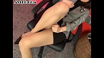 Asian secretary in pantyhose stocking nylon foo...