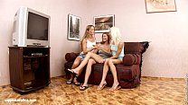 Hot threesome lesbian action on the couch by Sa...