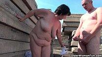 Chubby grandma with rock hard nipples gets fuck...