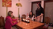 Three Girls Strap On Party with big dildo